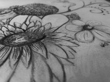 Pencil Flower Drawing